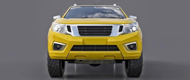 Gelber nutzfahrzeug-lieferwagen mit doppelkabine