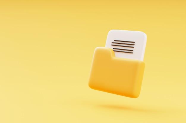 Gelber ordner mit dateien auf gelbem hintergrund 3d-rendering-illustration mit kopierraum