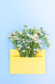 Gelber papierumschlag mit kleinen gartenweißen kamillenblüten auf hellblauem hintergrund. festliche blumenvorlage. grußkarten-design. ansicht von oben. vertikale aufnahme.