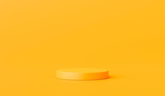 Gelber produkthintergrundständer oder podiumsockel auf werbeanzeige mit leeren hintergründen. 3d-rendering.