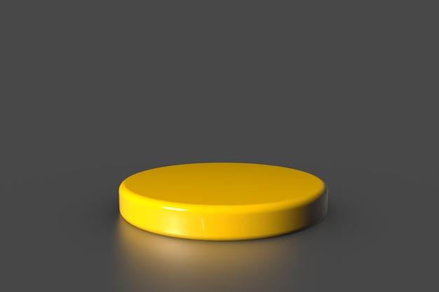 Gelber produktpräsentationssockelstand auf grauem hintergrund. abstraktes minimalkonzept. studio podium plattform thema.