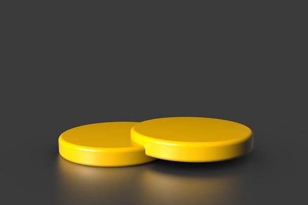 Gelber produktschaufenstersockel steht auf grauem hintergrund. abstraktes minimalkonzept. studio podium plattform thema.