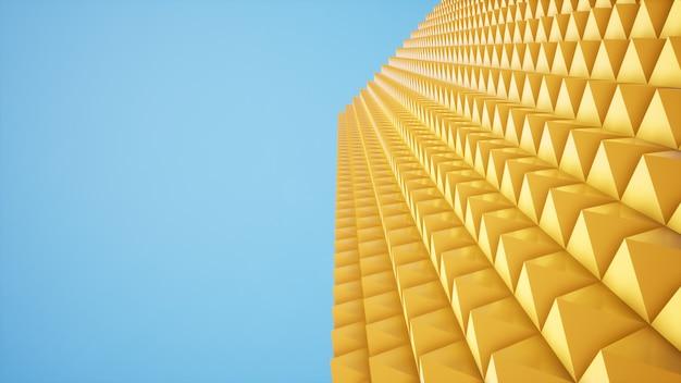 Gelber pyramidenhintergrund der perspektive