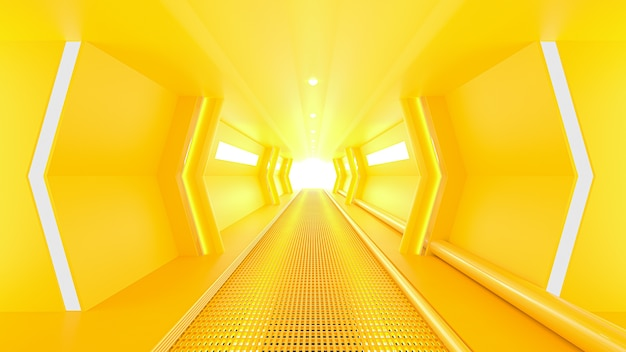 Gelber raumschiff-science-fiction-korridor. minimales ideenkonzept, 3d-rendering.