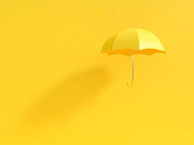 Gelber regenschirm mit schatten auf gelb