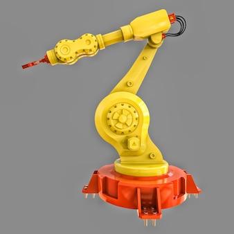Gelber roboterarm für jede arbeit in einer fabrik oder produktion. mechatronische ausrüstung für komplexe aufgaben