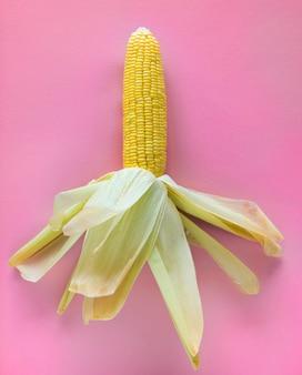 Gelber roher mais in einem rosa hintergrund