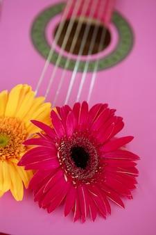 Gelber rosa gerbera der hippieblume auf gitarre