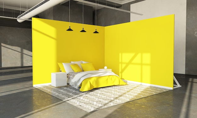 Gelber schlafzimmerausstellungsraum