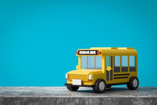Gelber schulbus auf blauem hintergrund mit zurück zum schulkonzept. klassisches schulbusauto. 3d-rendering.