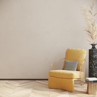 Gelber sessel im wohnzimmer 3d-rendering