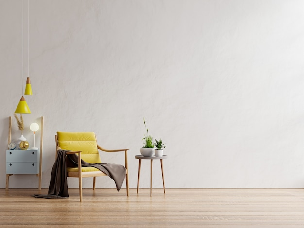 Gelber sessel und ein holztisch im wohnzimmer, weiße wand. 3d-rendering