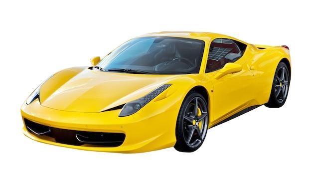 Gelber sportwagen isoliert