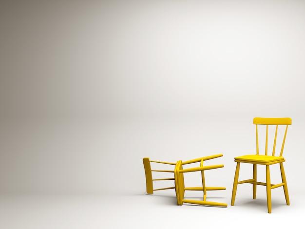 Gelber stuhl auf weißem pastellhintergrundkonzept tempalte