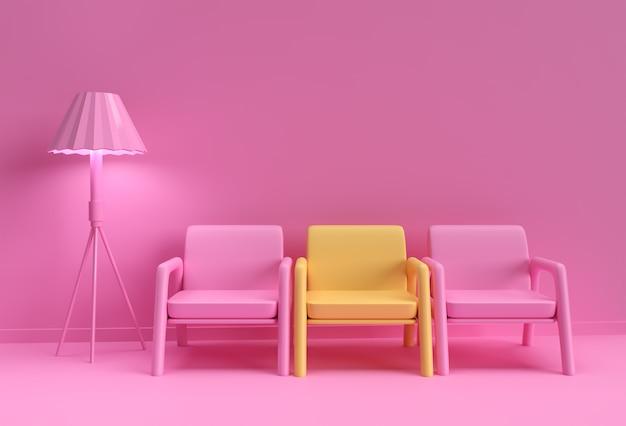 Gelber stuhl, der sich von der masse abhebt. geschäftskonzept. 3d-rendering-design.