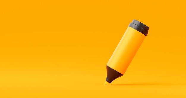 Gelber tintenmarker oder zeichnungs-highlighter-bleistift-grafikdesign auf lebendigem hintergrund mit bildungsbriefpapier für kreatives farbkonzept. 3d-rendering.