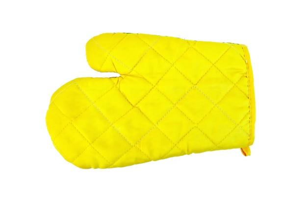 Gelber topflappen der küche in form von handschuhen lokalisiert auf weißem hintergrund