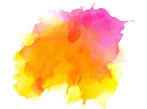 Gelbes aquarell auf papier.