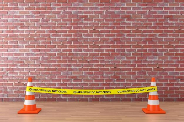 Gelbes band überqueren nicht die polizeilinie mit straßenkegeln im museum auf einem roten backsteinmauerhintergrund. 3d-rendering