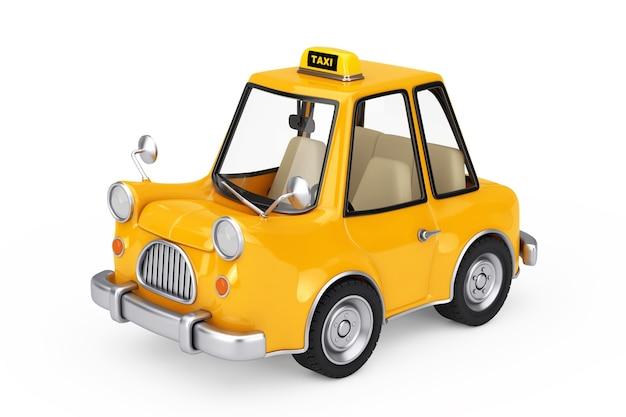 Gelbes cartoon-taxi-auto auf weißem hintergrund. 3d-rendering