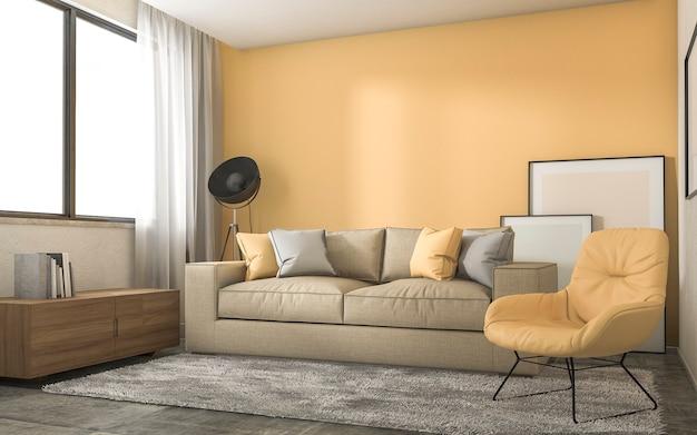 Gelbes dachbodenwohnzimmer mit minimaler dekoration
