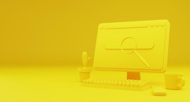 Gelbes desktop-technologie-datenanalyse-suchkonzept. hintergrund-landing-hauptseite. platz kopieren. 3d-abbildung.