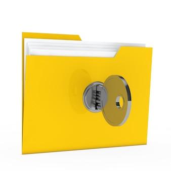 Gelbes faltblatt mit sicherheitsschlüssel