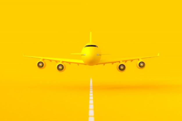 Gelbes flugzeug fliegt auf der landebahn.