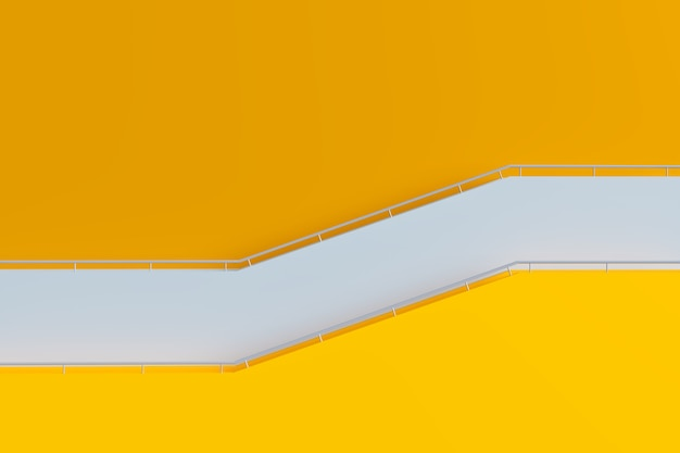 Gelbes gebäude und treppe mit geländer, minimale 3d-architektur, 3d-darstellung