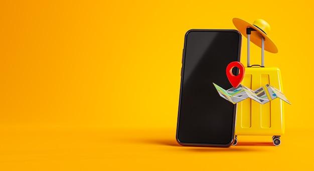 Gelbes gepäck, telefon, karten-pin und hut reisekonzept hintergrund kopie raum 3d-rendering
