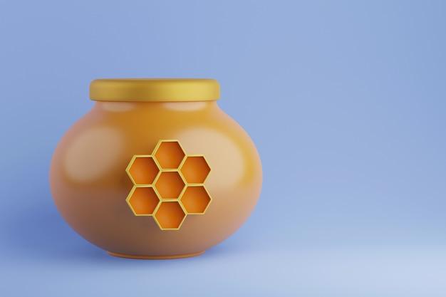 Gelbes glashonigglas mit wabe und deckel 3d-darstellung
