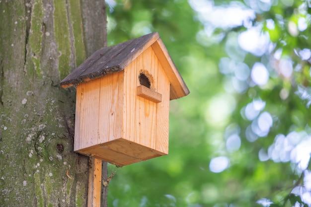 Gelbes hölzernes vogelhaus auf einem baumstamm im grünen park draußen.