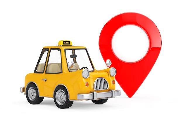 Gelbes karikatur-taxi-auto mit rotem karten-zeiger-ziel-pin auf einem weißen hintergrund. 3d-rendering