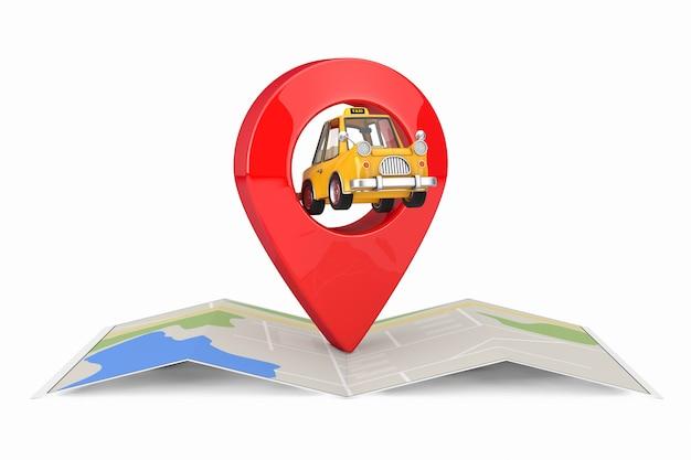 Gelbes karikatur-taxi-auto mit rotem karten-zeiger-ziel-pin über abstrakter karte auf einem weißen hintergrund. 3d-rendering