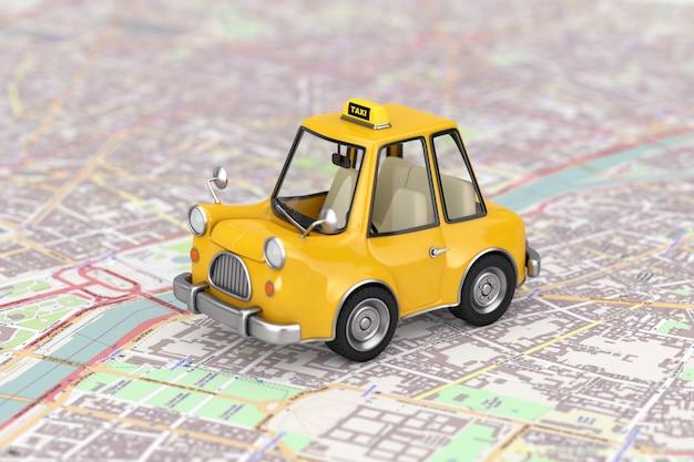 Gelbes karikatur-taxi-auto über extreme nahaufnahme des abstrakten stadtplans. 3d-rendering