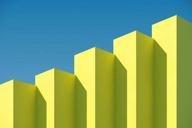 Gelbes kastengebäude mit schatten auf himmelhintergrund. minimale architektur ideen konzept. 3d-rendering.
