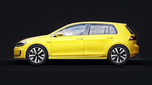 Gelbes kleines familienauto fließheck auf schwarzem hintergrund. 3d-rendering.