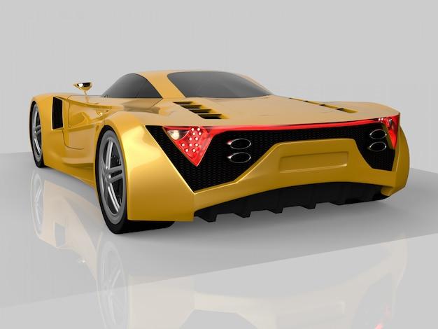 Gelbes laufendes konzeptauto. bild eines autos. 3d-rendering.