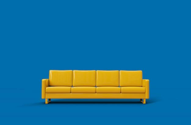 Gelbes ledersofa lokalisiert auf blauem hintergrund. 3d-rendering