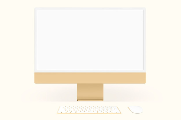 Gelbes, minimales digitales computer-desktop-bildschirmgerät mit designraum