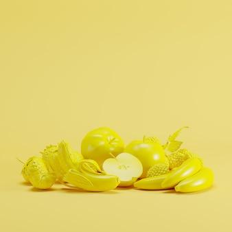 Gelbes mixfruit monoton auf gelbem pastellhintergrund. minimales fruchtideenkonzept.