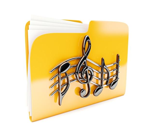 Gelbes ordnersymbol 3d mit musiknoten isoliert auf weiß