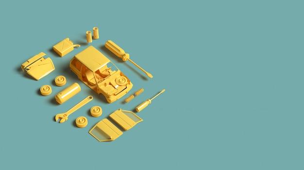 Gelbes plastikmodellauto mit werkzeugteil