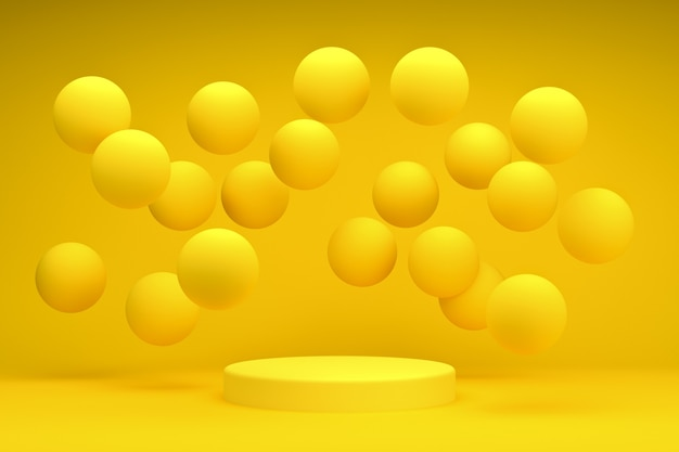 Gelbes podium 3d-rendering-runde mit kugelsockel oder plattformhintergrund für kosmetische produkte