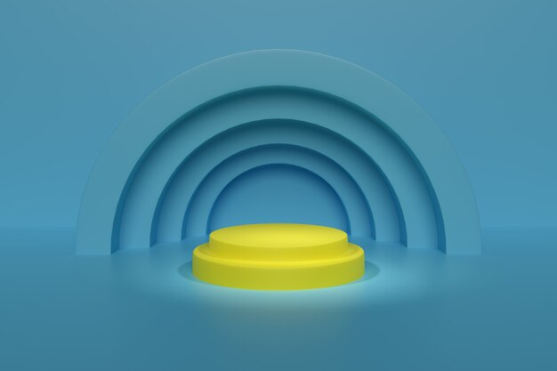 Gelbes podium auf blauem hintergrund. abstraktes geometrisches design.