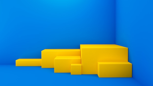 Gelbes podium in der ecke auf blauer oberfläche