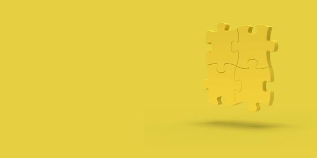 Gelbes puzzle auf gelbem grund