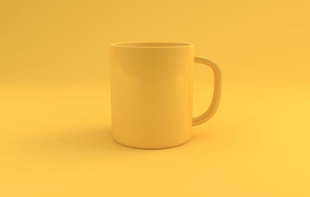 Gelbes realistisches becher-modell auf gelbem hintergrund 3d gerendert