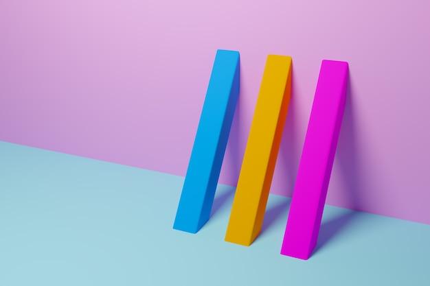 Gelbes, rosa und blaues muster der 3d-illustration im geometrischen zierstil. abstrakter geometrischer hintergrund, textur. muster bodenmosaik