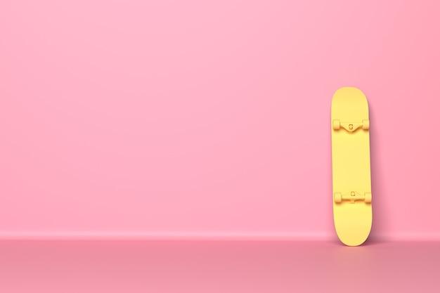 Gelbes skateboard an einem rosa hintergrund befestigt